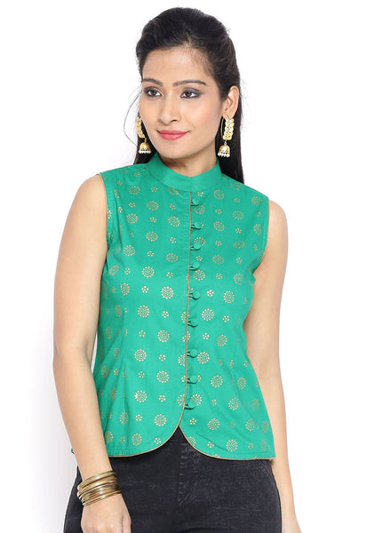 Cotton Hand Block Printed Waistcoat Top