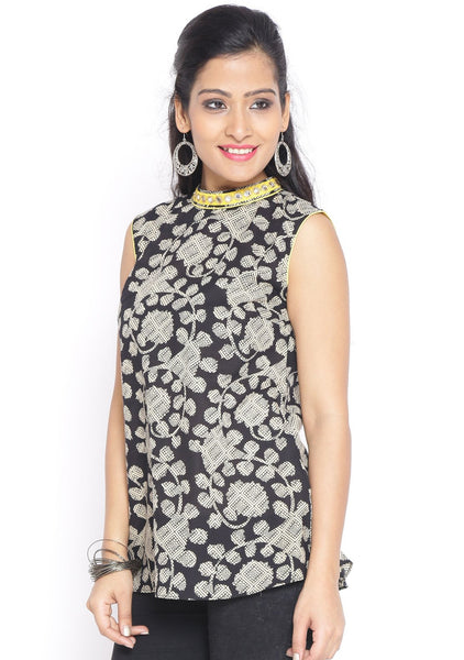 Cotton Hand Block Printed Embellished Top