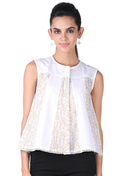 Cotton Malmal Block Printed Panelled Top