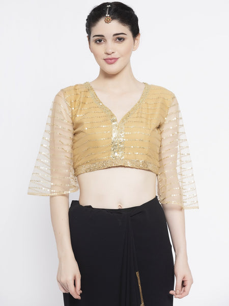 Net Sequin Embroidered Blouse