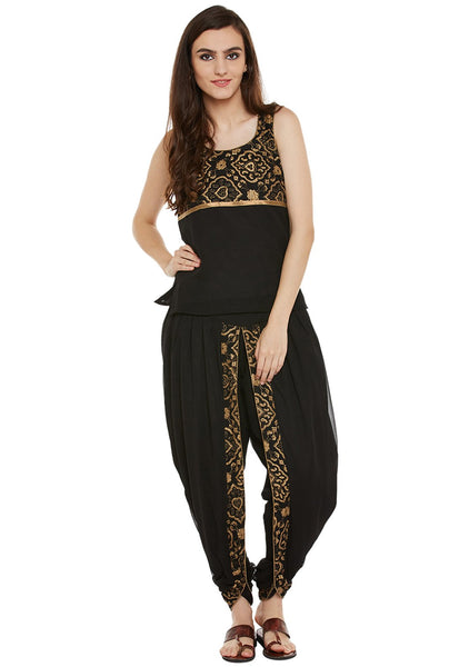 Georgette Block Printed Dhoti Set