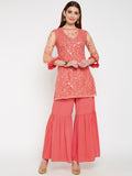 Crepe & Net Floral Sequins Embroidered Sharara Set