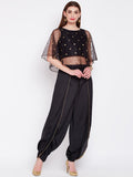 Net Sequins Embroidered Cape Dhoti Set