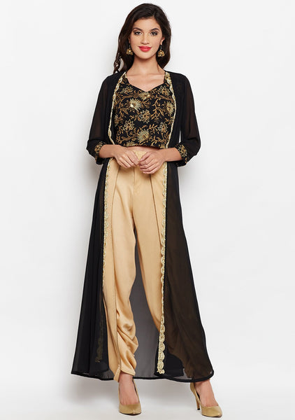 Georgette Block Printed Embroidered Cape Dhoti Set