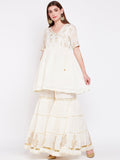 Cotton Hand Block Printed Crinkled Tiered Sharara