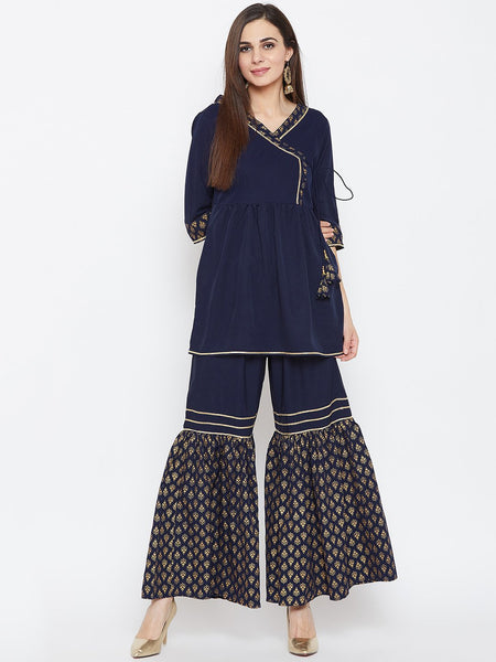 Crepe Hand Block Printed Tiered Sharara