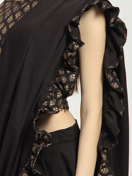 Crepe Sharara with Ruffle Block Printed Dupatta