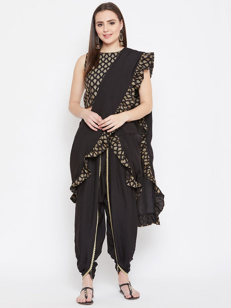 Crepe Embellished Dhoti with Ruffle Block Printed Dupatta
