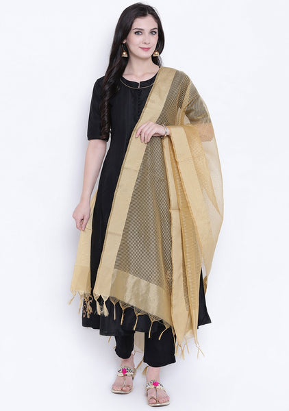 Faux Chanderi Stripes Woven Dupatta