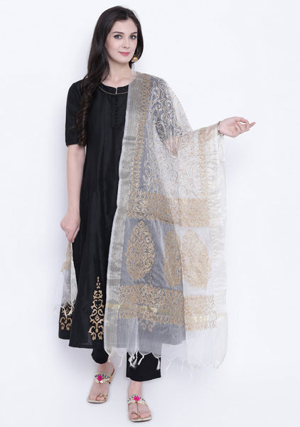 Faux Chanderi Zari Embroidered Dupatta
