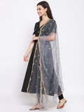 Net Foil Embroidered Scallop Dupatta