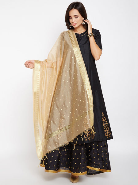 Faux Chanderi Zari Border Dupatta