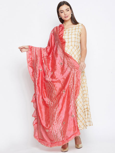 Silk Mirror Work Embellished Ruffle Dupatta