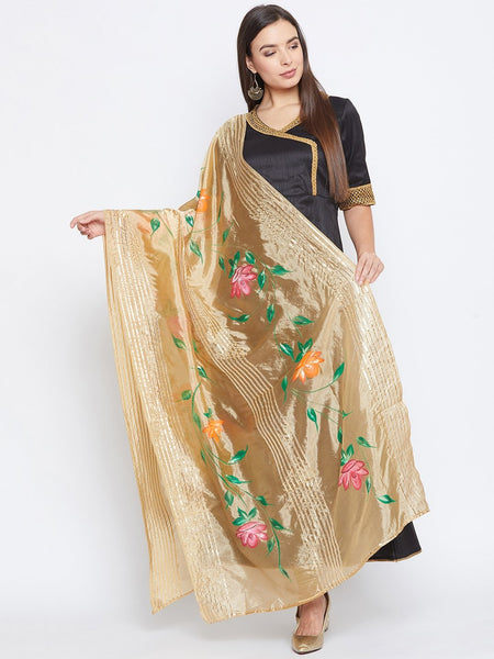 Organza Hand Painted Embellished Dupatta