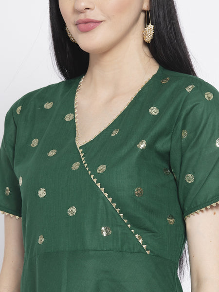 Cotton Sequin Yoke Embroidered A-line Kurta Set