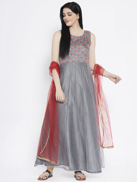 Silk Embroidered and Net Embellished Maxi Kurta Set
