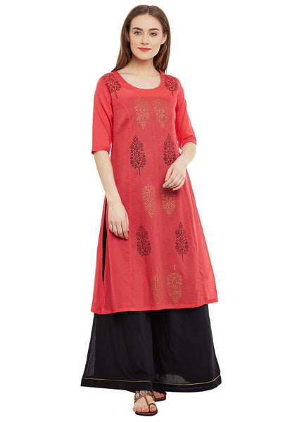 Cotton Malmal Block Printed Panelled Kurta