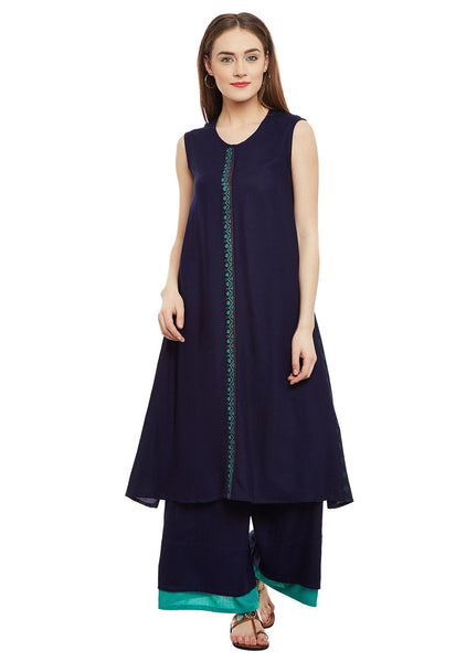 Cotton Viscose Block Printed Side Pleated Kurta