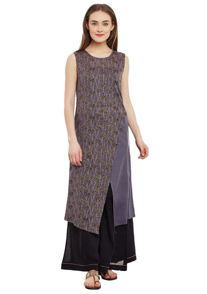Cotton Malmal Block Printed A-line Kurta