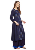 Cotton Viscose Block Printed Panelled Kurta
