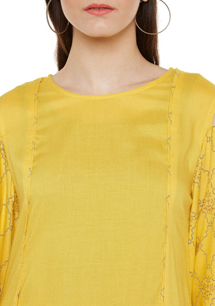 Cotton Viscose Block Printed Cold Shoulder Kurta