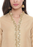 Cotton Silk Embellished Hand Block Printed Jacket Kurta