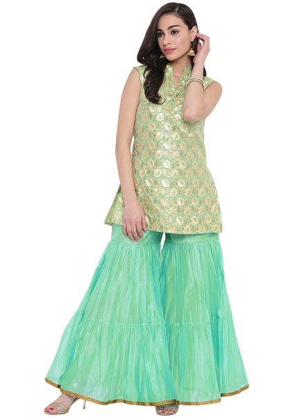 Faux Chanderi Brocade Short Kurti