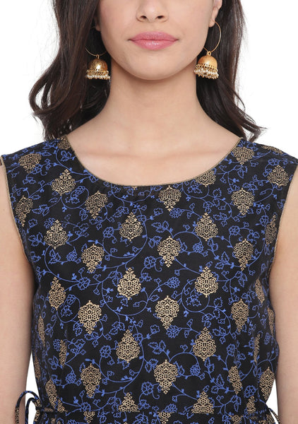 Faux Chanderi Printed Tie-ups Layered Kurta