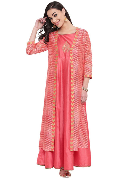 Faux Chanderi Printed Jacket Layered Kurta