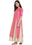 Faux Chanderi Checks Hand Block Printed Layered Kurta