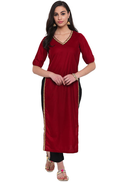 Velvet Embellished High Slits Kurta
