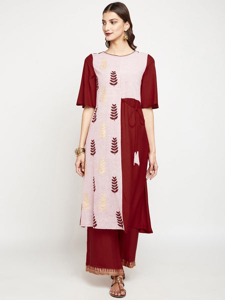 Cotton Stripes & Viscose Panelled Hand Block Printed Kurta
