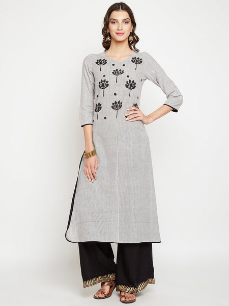 Cotton Stripes Hand Block Printed Placket Kurta