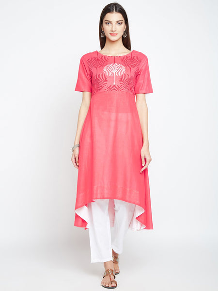 Cotton Slub Hand Block Printed A-line Kurta