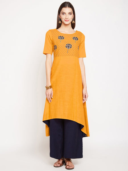 Cotton Slub Hand Block Printed Embroidered Kurta