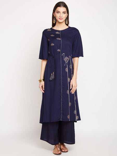 Cotton Viscose Hand Block Printed Tie-up Kurta