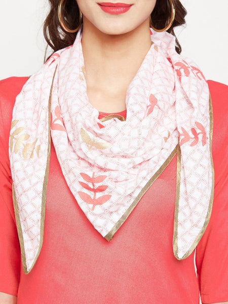 Cotton Viscose Hand Block Printed Neckscarf Cowl Kurta