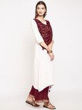 Cotton Slub Hand Block Printed Draped Dupatta Kurta