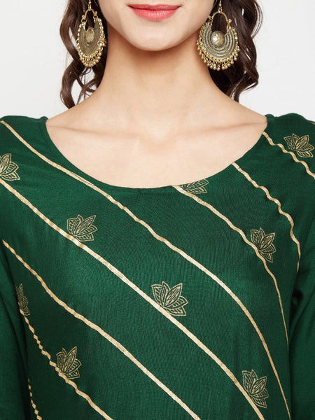 Cotton Viscose Side Tiered Hand Block Printed Kurta