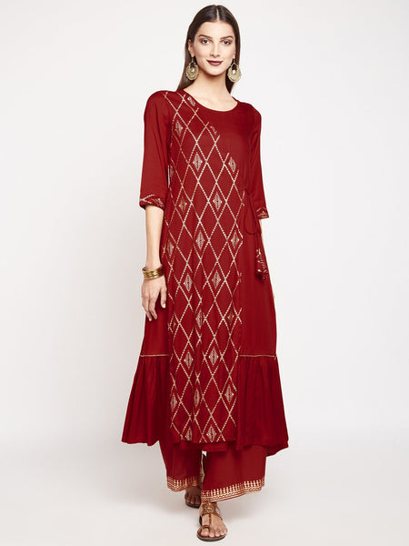 Cotton Viscose Angrakha Panel Hand Block Printed Kurta