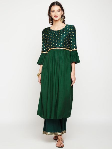 Dupion & Cotton Viscose Embroidered Bell Sleeves Kurta