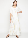 Cotton Viscose Hand Block Printed Faux Layered Kurta