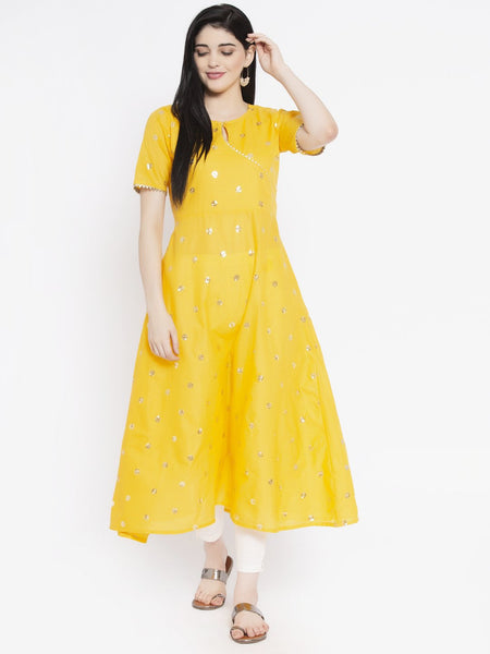 Cotton Sequin Embroidered A-line Kurta