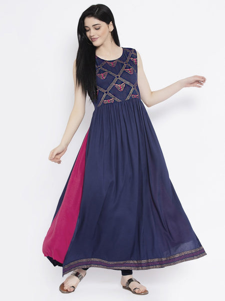 Viscose Block Printed Embroidered Maxi Kurta