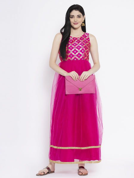 Brocade and Net Embellished Maxi Kurta