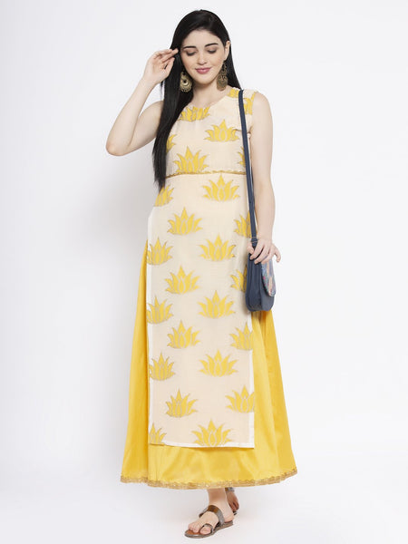 Chanderi Block Printed Embellished Attached Maxi Kurta