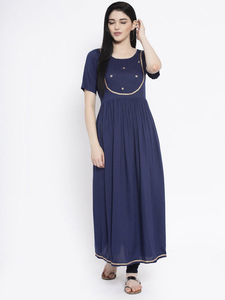 Viscose Sequin Embroidered Maxi Kurta