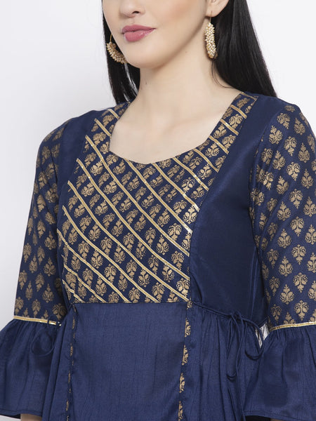 Silk Block Printed Gota Work Short Kurta