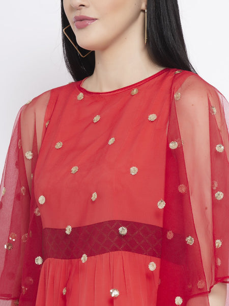 Crepe and Net Sequin Embroidered Cape Kurta