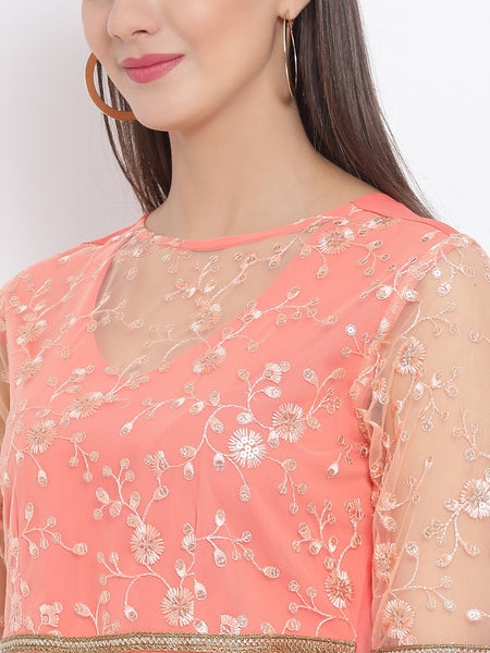 Crepe Sequins Embellished Sheer Neck Kurta